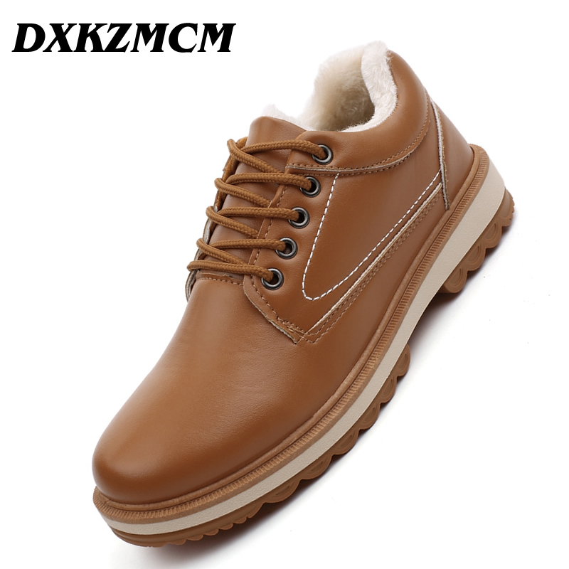 DXKZMCM Warm Men's Winter Pu Leather Ankle Boots Men Autumn Waterproof Snow Boots Leisure Martin Autumn Boots Mens Shoes mycolen new men s winter leather ankle boots fashion brand men autumn handmade boots leisure martin autumn boots mens shoes