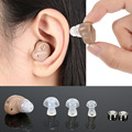 Mini In-Ear Ear Hearing Aid Device Adjustable Volume Digital Sound Amplifier with Hygiene Case Kit  Button Batteries V-126