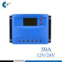2 sztuk/partia 50A Regulator Ładowania Słonecznego 12 V 24 V Panel Słoneczny Ładowarka Baterii LCD Regulator Auto Przełącznik Klasyczny Czerwony przyciski