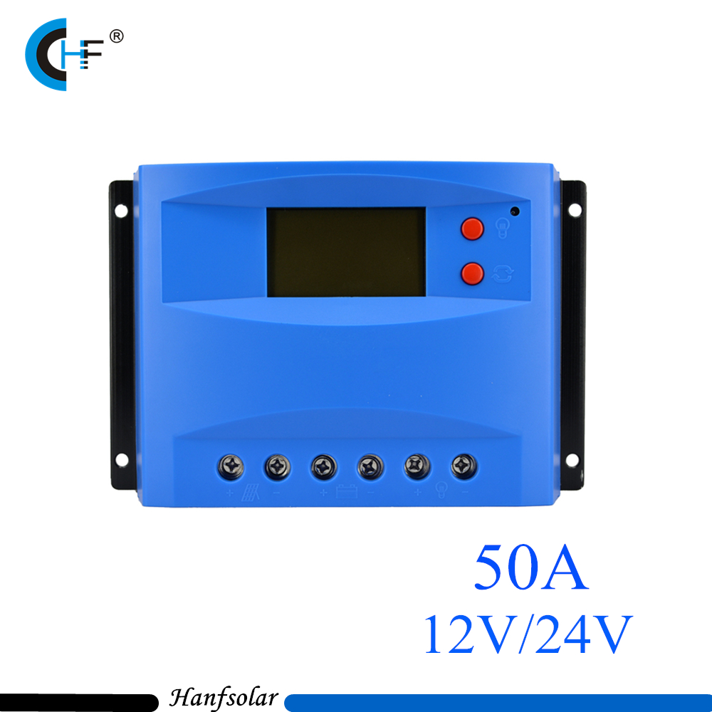 цена на 2pcs/lot 50A Solar Charge Controller 12V 24V Solar Panel Battery LCD Charger Regulator Auto Switch Classical Red Buttons