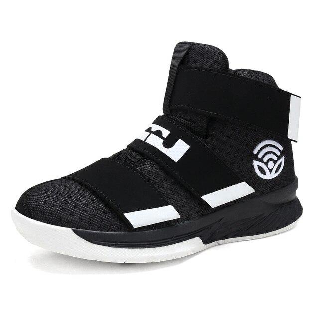 Для мужчин; спортивная обувь новые высокие баскетбольные кроссовки Для мужчин Мальчики Аутентичные баскетбольной обуви кожа черный Баскетбольная обувь кроссовки