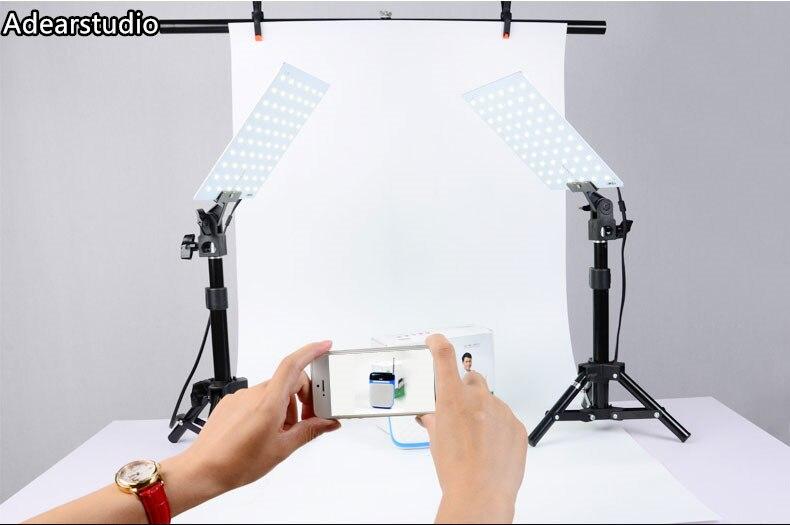 5500K 2X LED Light Lamps / Mini Shooting Table Background Paper Kit Set photogrpahy for Still Life Product Shooting CD50 fancier led portable shooting table kit