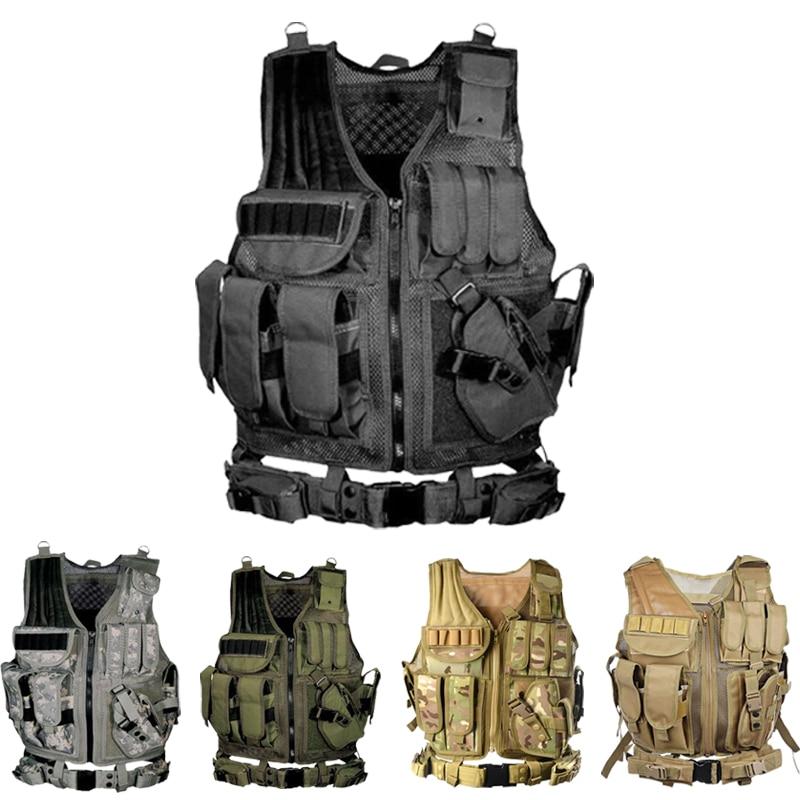 Tactical Vest Multi-bolso Do Exército SWAT CS Colete de Caça Camping Caminhadas Acessórios