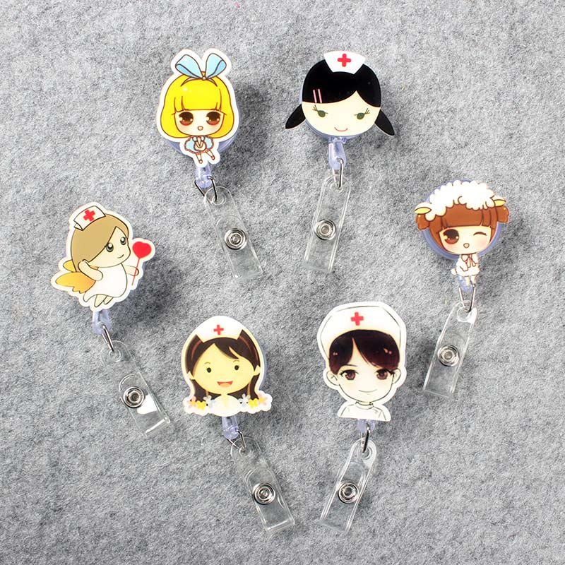 Girls Retractable Plastic Cute Beautiful Nurse Badge Holder Reel Student Exhibition ID Enfermera Name Card School Chest Card