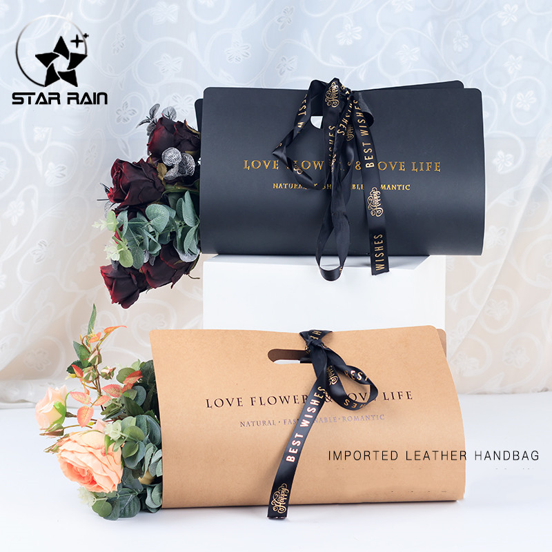 2019 New Creative Waterproof Flower Packaging Kraft Paper Florist Bouquet Decor Handbags Portable Gift Box Packing Cardboards