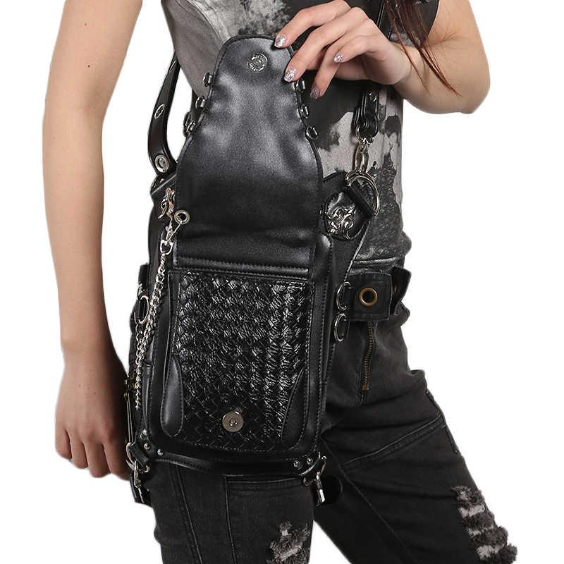 Steampunk Frauen Taille Bein Taschen Schädel Niet Messenger Schulter Taschen Retro Rock Fanny Packs Gothic PU Leder Holster Drop Hüfte tasche