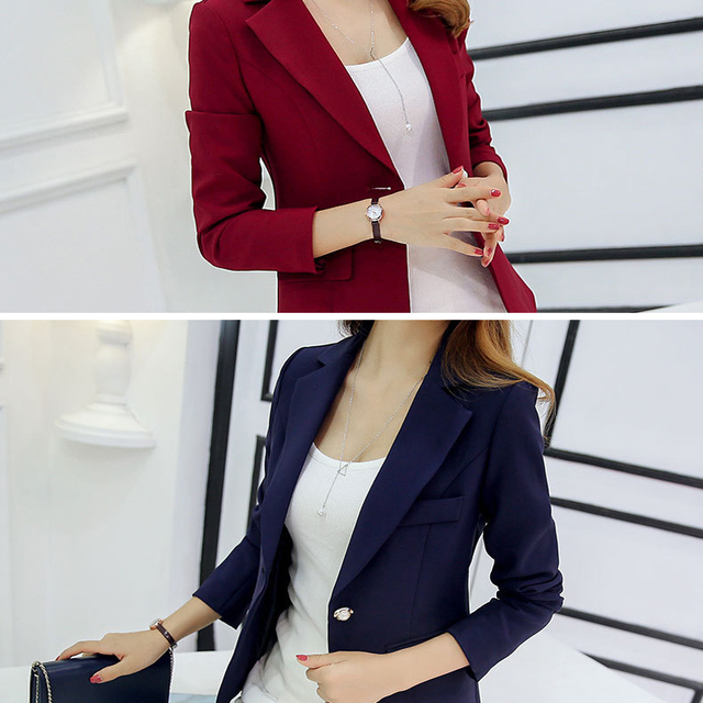 Womens Jackets And Coats Slim Fit Blazer Women Formal Jackets Office Work Notched Ladies Blazer Coat vadim feminino abrigo mujer 5