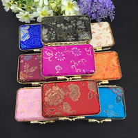 Classic Portable Jewelry Gift Boxes Mirror Chinese Style High End Silk Brocade Iron Clamp Double Lipstick