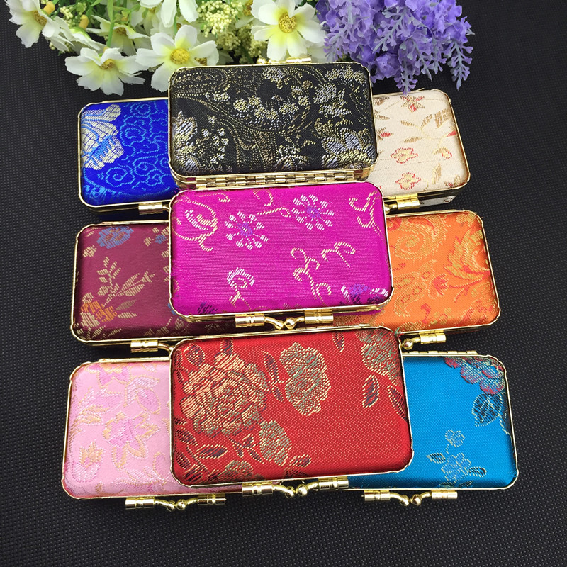 Mirror Portable Silk Brocade Travel Jewelry Case for Necklace Ring Gift Box Empty Double Lipstick Storage Boxes Packaging Tubes