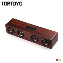 TORTOYO 12W Portable Bluetooth Wireless Wooden Speaker Wood Stereo Bass 3D Surround Subwoofer TF Card Slot 3.5mm AUX Handsfree