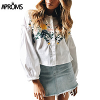 Aproms Women Flower Embroidery Lantern Sleeve Loose Shirt Summer Stand Collar Long Sleeve White Blouse Ladies