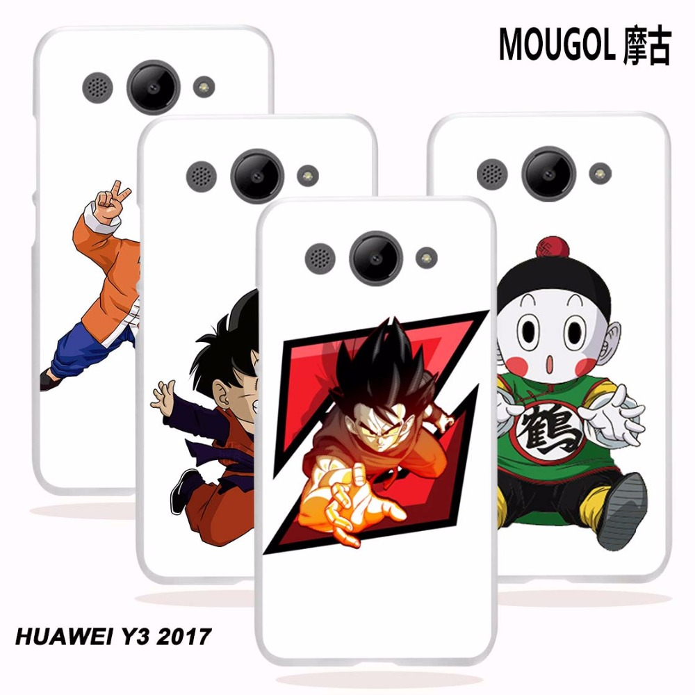 MOUGOL For Huawei Y3 2017 Case Dragon Ball Z Super Goku Design Transparent  Hard Phone Case Cover For