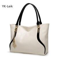 YK Leik 2018 European And American Fashion Designer Casual Women Tote Bags Leather Handbag Classic Black