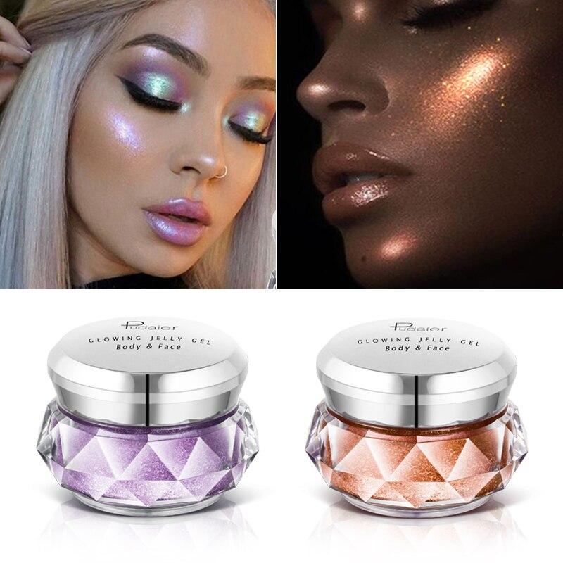 Face Highlighter Jelly Gel Mermaid Eyeshadow Glow Body Glitter Festival Makeup Iluminador Gold Liquid Highlighter Pink Bronzer