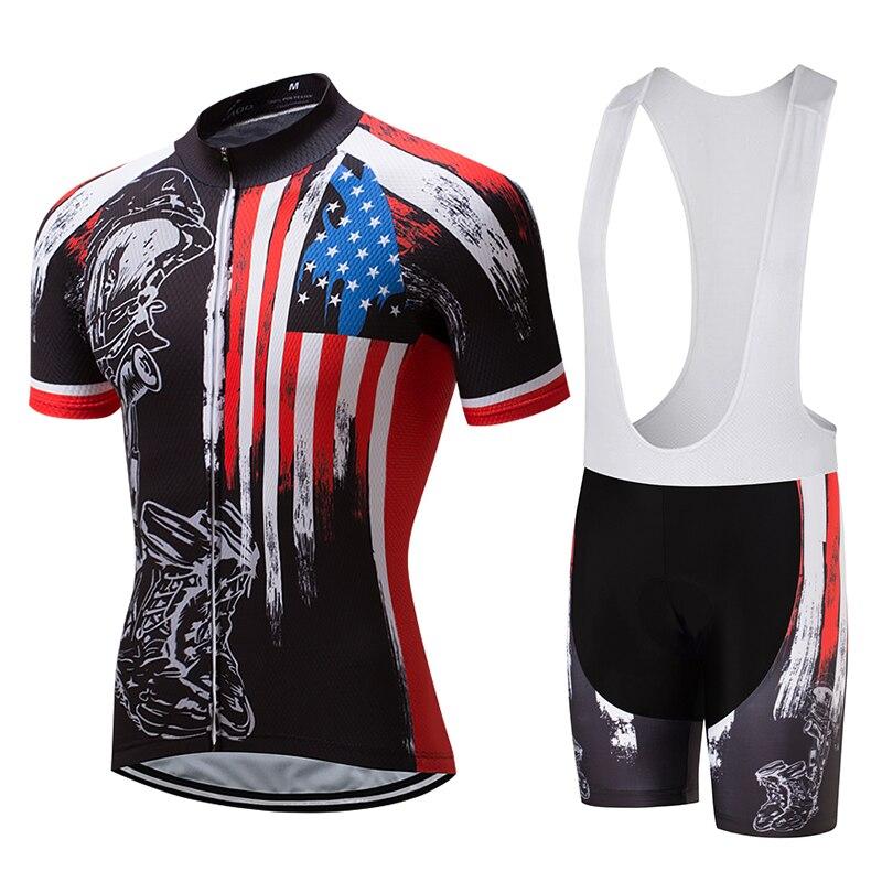 Cusroo 2018 Men Short Sleeve Cycling Jersey Kits Men Bib Short Cycling Kits Ropa Ciclismo