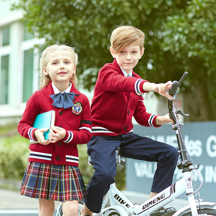 Kids English Style School Uniform Collar Turtleneck Primary School Kindergarten Uniforms Suit Noble 4pcs School Wear