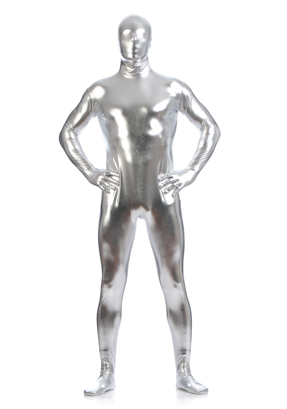 Mandy Wholesale Full Body Shiny Bodysuit Silver Mens Plus Size Spandex Metallic Zentai Suit Lycra Costumes