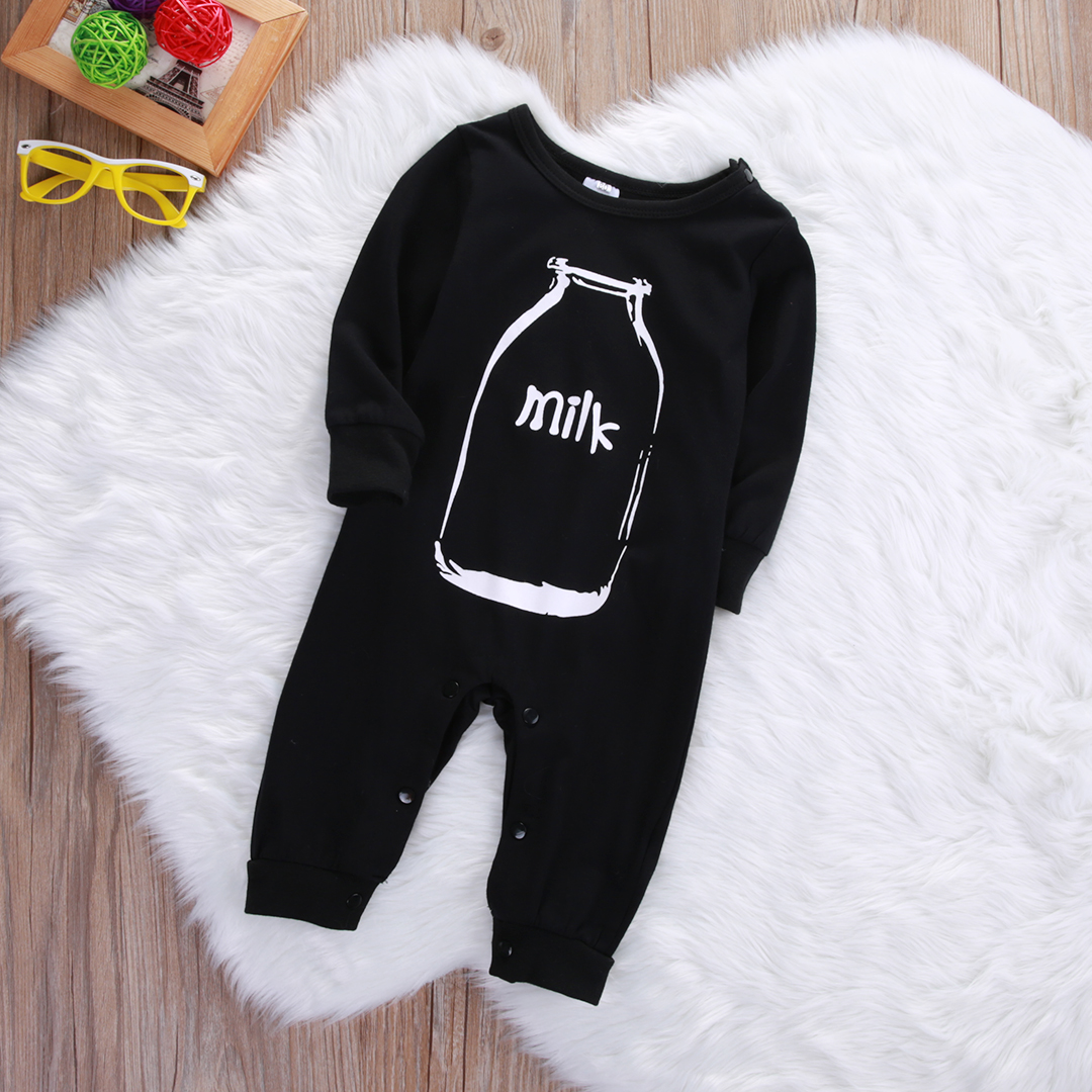 edef0c4ab62 Autumn Newborn Infant Baby Boy Girl Long Sleeve bottle Milk Romper Cotton  Jumpsuit Clothes Sleepsuit Outfits-in Rompers from Mother   Kids on  Aliexpress.com ...