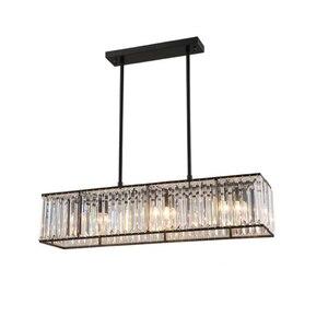 Image 3 - Jmmxiuz 3 אור אמריקאי בציר רטרו קריסטל נברשת תאורת חדר אוכל מסעדה תליית ברזל מוט תליון מנורה