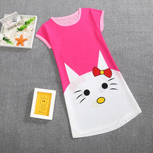 Girls Princess Nightgowns Summer Children's Clothing Children Short Sleeve Cartoon Nightdress Baby Girls Knitted Sleepwear