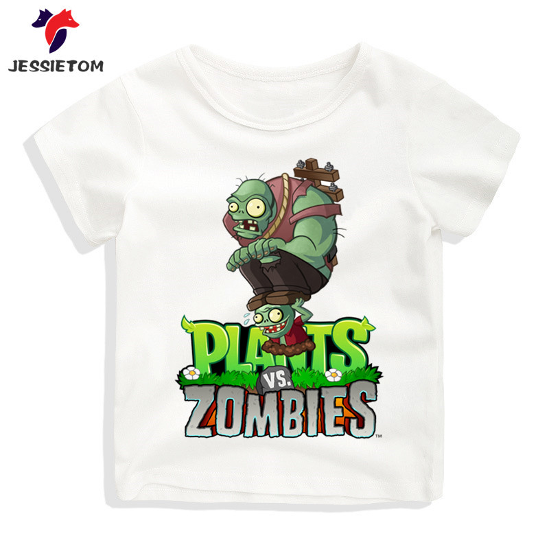 Boy and Girl Game Plants Vs Zombies Tshirt Kid Summer Soft Kawaii Cartoon Funny Top Tee Children Funny Clothes Baby Camisetas