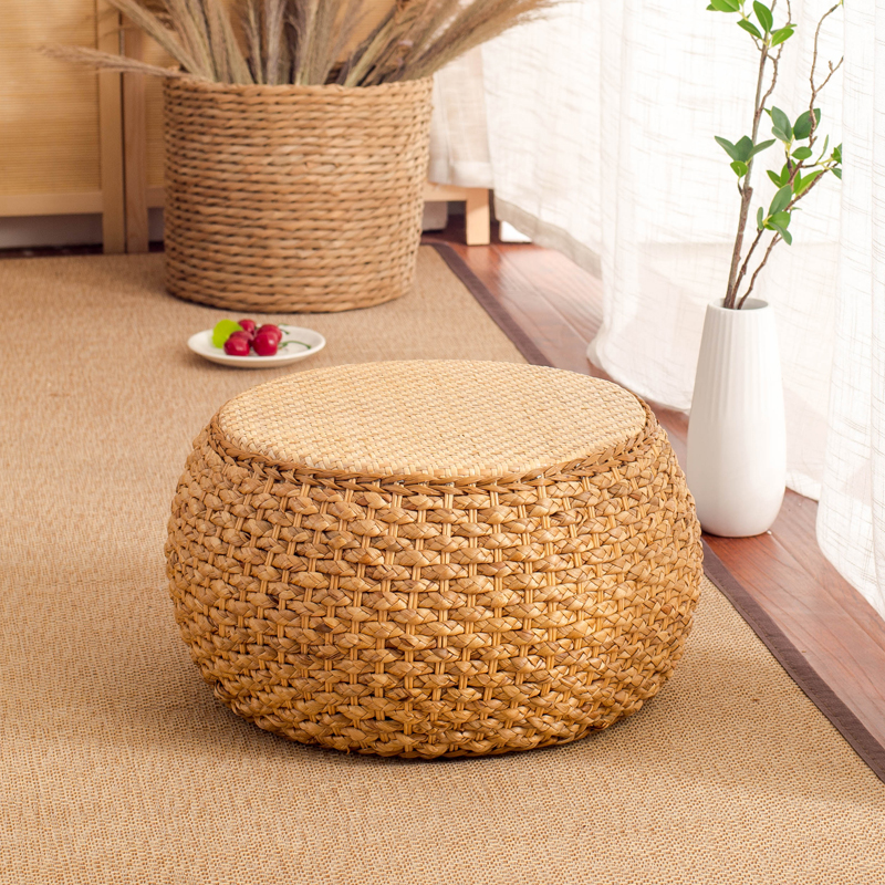 Home Collection Rattan Small Stool Ottoman Footrest Modern Round Foot Stool For Living Room Den Bedroom