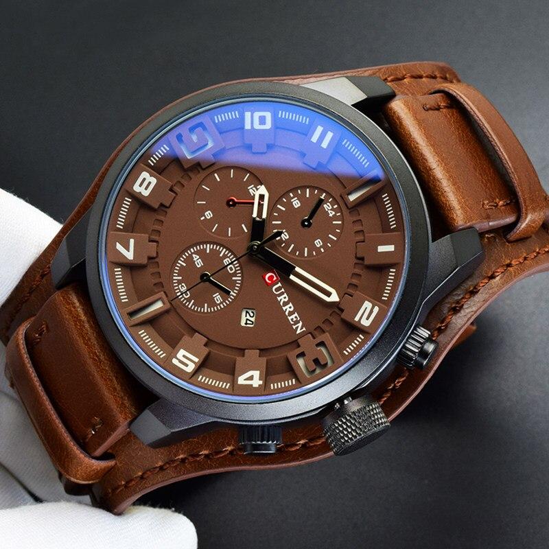 2018 Curren Mens Relógios Top Marca de Luxo Pulseira De Couro Marrom Relógio de Quartzo Homens Militar Relógio Do Esporte À Prova D' Água Relogio masculino