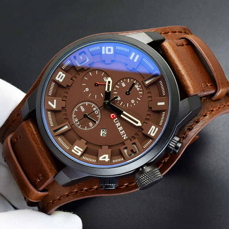 2018 Curren Mens Watches Top Brand Luxury Brown Leather Strap Quartz Watch Men Military Sport Waterproof Clock Relogio Masculino curren top brand luxury mens watch men watches male casual quartz wristwatch leather military waterproof clocks sport clock 8225