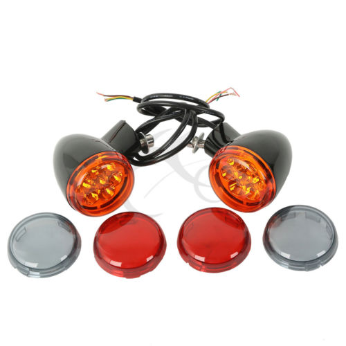 Motorcycle Rear Bullet LED Turn Signal Indicator Light For Harley XL 883 1200 Sportster 1992-2019 Smoke Orange Red