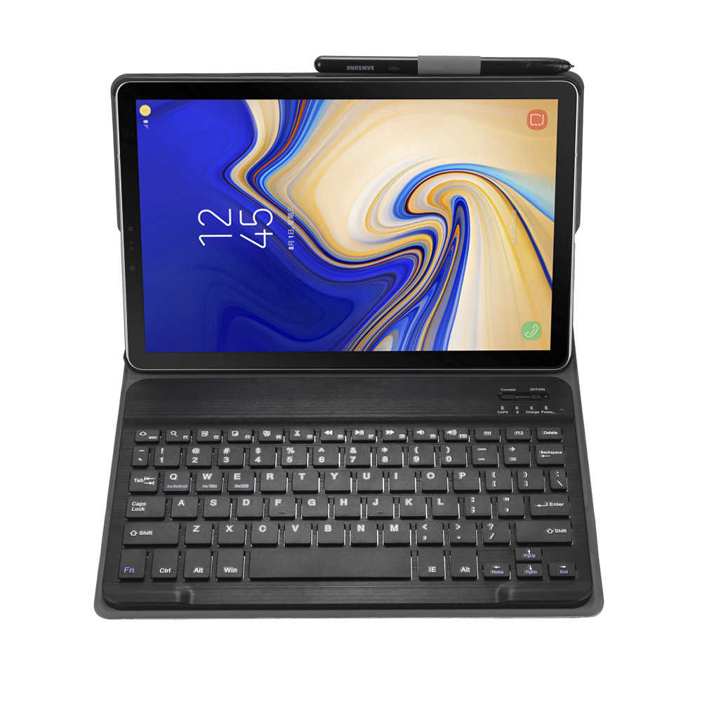 For Samsung Galaxy Tab S4 2018 10.5 inch SM T830 T835 Detachable WiFi Bluetooth Keyboard Leather Case Cover Funda+Pen Holder