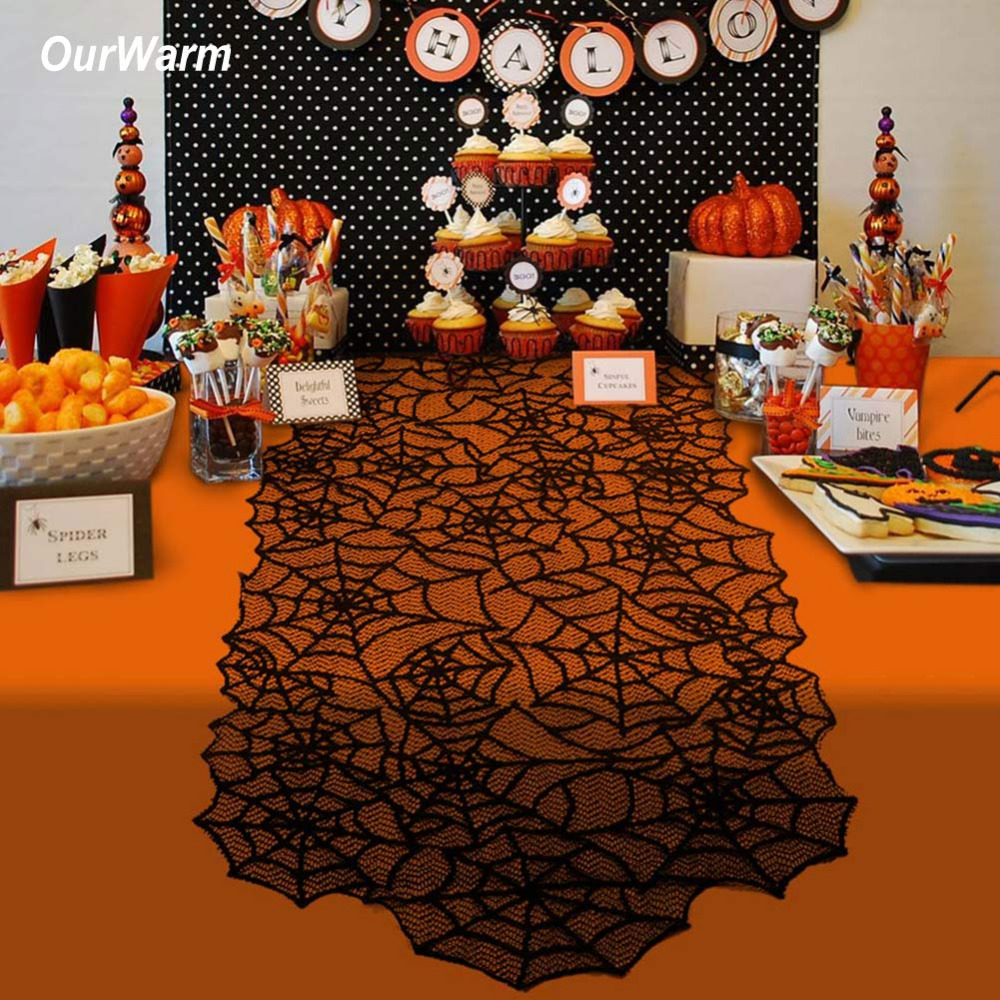 Halloween tablecloth - Ourwarm Halloween Party Decoration Black Table Runners Tablecloth Horror House Lace Spiderweb Fireplace Mantle Scarf Cover