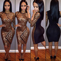 Fashion Women Sexy Night Club Mini Dress Bandage Vestidso O Neck Patchwork Sequin Dress Female Bodycon Dress WDC113