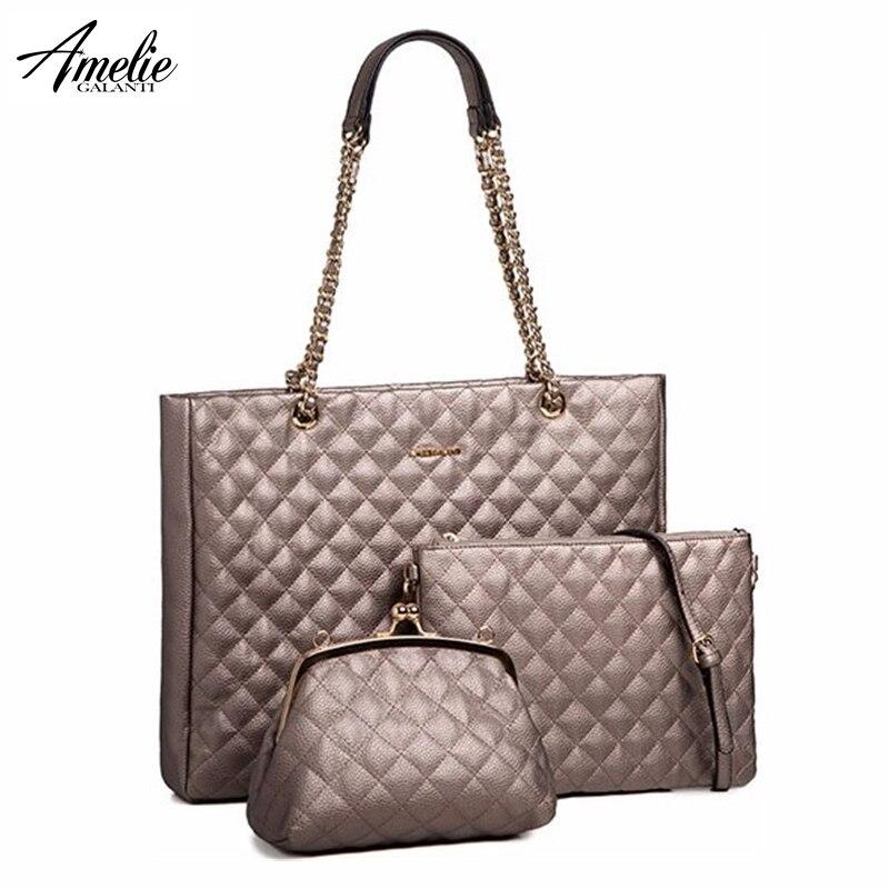 AMELIE GALANTI sac à bandoulière femme grande taille motif géométrique décontracté sac fourre-tout trois sacs indépendants sac à bandoulière femme sac à main
