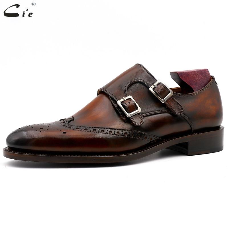 Image 2 - cie Round Toe Brogues Full Grain Genuine Calf Leather Formal Shoes Custom Mens Dress Monk Straps Office Shoe Men Elegant MS00Formal Shoes   -