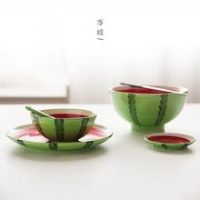 Fruit Colorful Ceramic rice bowl kids soup salad bowl spoon plate set  dessert watermelon style tableware instant noodles bowl