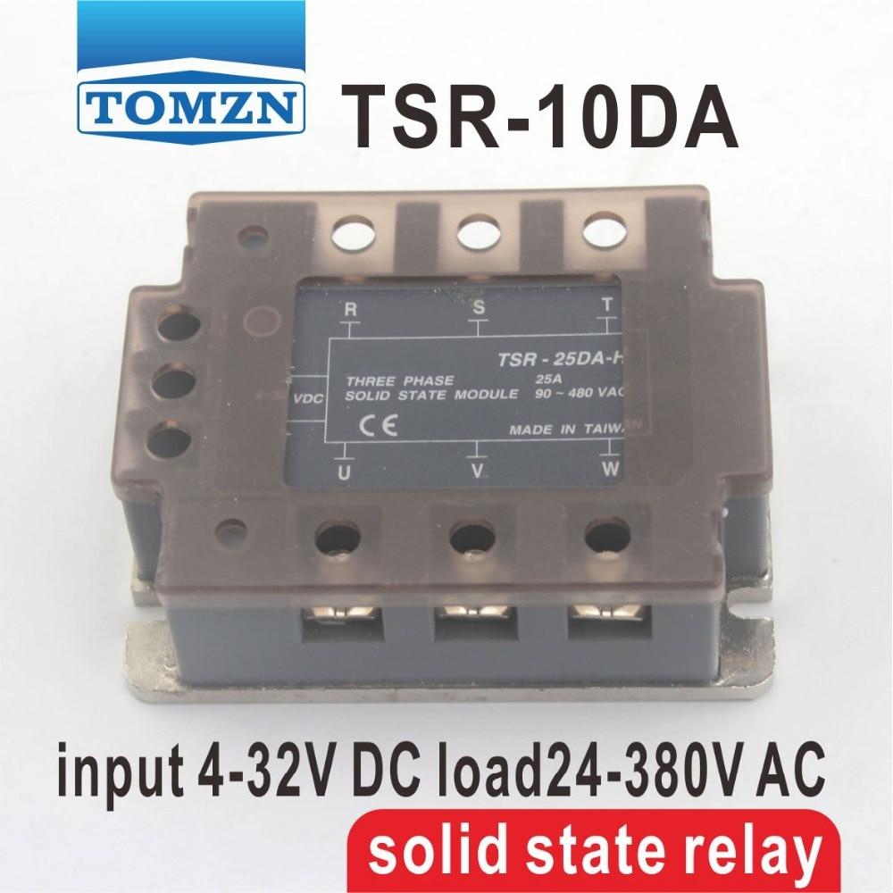 10DA TSR-10DA Three-phase SSR input 4-32V DC load 24-380V AC single phase AC solid state relay normally open single phase solid state relay ssr mgr 1 d48120 120a control dc ac 24 480v