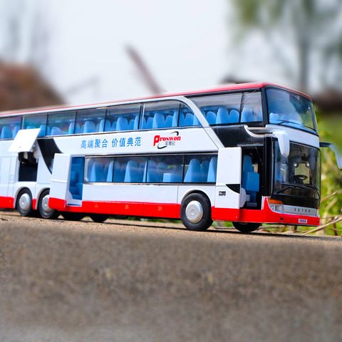 1:32 High Simulation Double Sightseeing Bus Model Toy Cars Alloy Flashing Sound Vehicle Toys for Kids Children Birthday Gifts Lahore