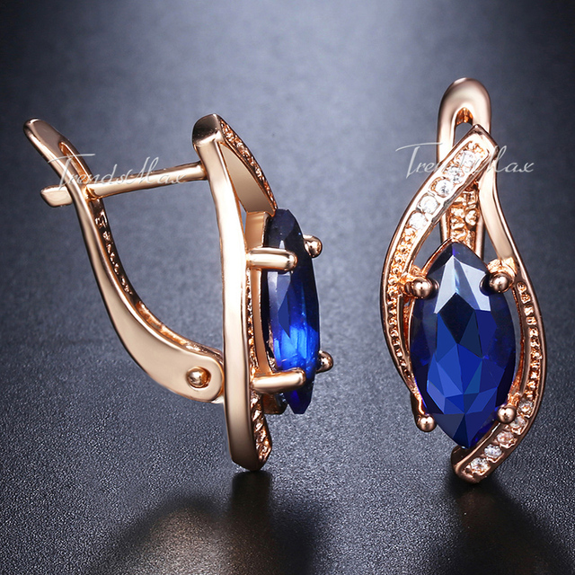 2644deccb Blue Stone Stud Earrings For Women 585 Rose Gold Filled Round Leaf Shaped  Womens Stud Earring Fashion Jewelry GE136