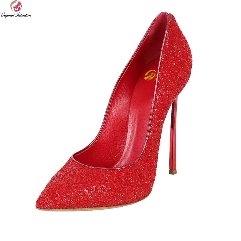 Original Intention Stylish Women Pumps Pointed Toe Metal Thin High Heels Pumps Black Red Gold Silver Shoes Woman US Size 3-10.5 original intention new popular women pumps fashion pointed toe thin heels pumps beautiful black red shoes woman us size 3 5 10 5
