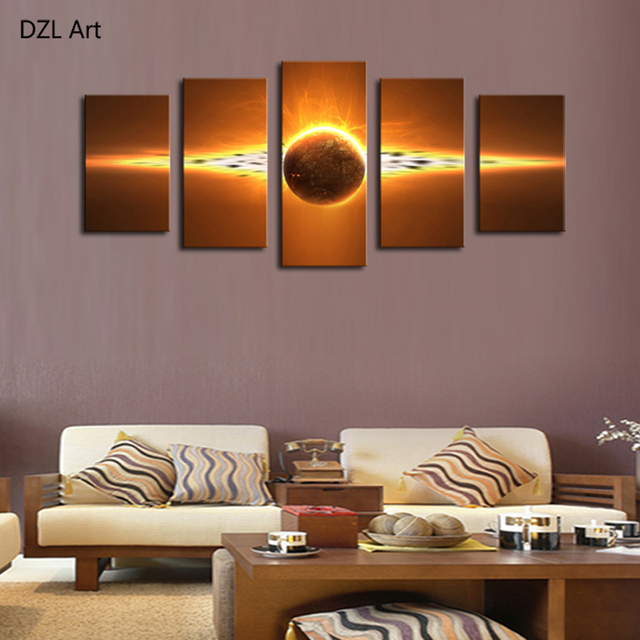 5 Piece(No Frame) Hot Sell Sunrise Modern Home Wall Decor Canvas Picture Art