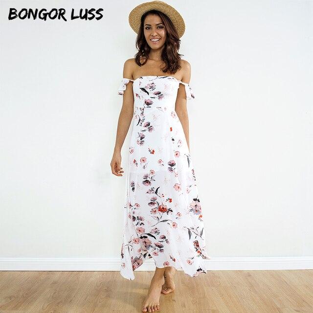40f47778edcac2 BONGOR LUSS Women Summer Maxi Dress Sexy Slash Neck Off Shoulder Ruffle  Short Sleeve Floral Print Boho Beach Long Chiffon Dress