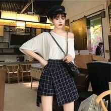 23e3d1498 lunoakvo Women High Waist Irregular Stitching Plaid Plus Size 2019 Summer  A-line