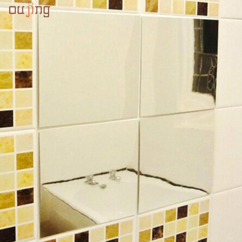 oujing feliz gifs unids espejos de mosaico baldosas pegatinas de pared calcomana cuadrada decoracin