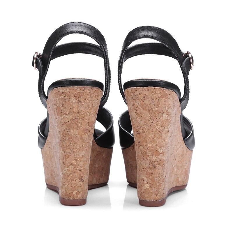 Schwarzes Heels Schuhe High Sommer Echtes Peep Leder Toe grün Frauen Schnalle Sandalen Damen Doratasia Kuh qxH4aa