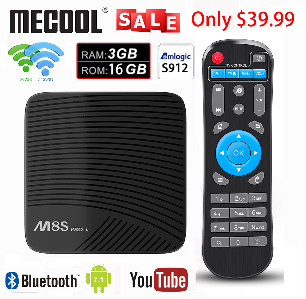 Mecool Smart TV BOX Amlogic S912 Octa Core 3GB 16GB 2.4G WIFI 3D HDTV Android 7.1 M8S PRO L TV Receiver Android TV Box
