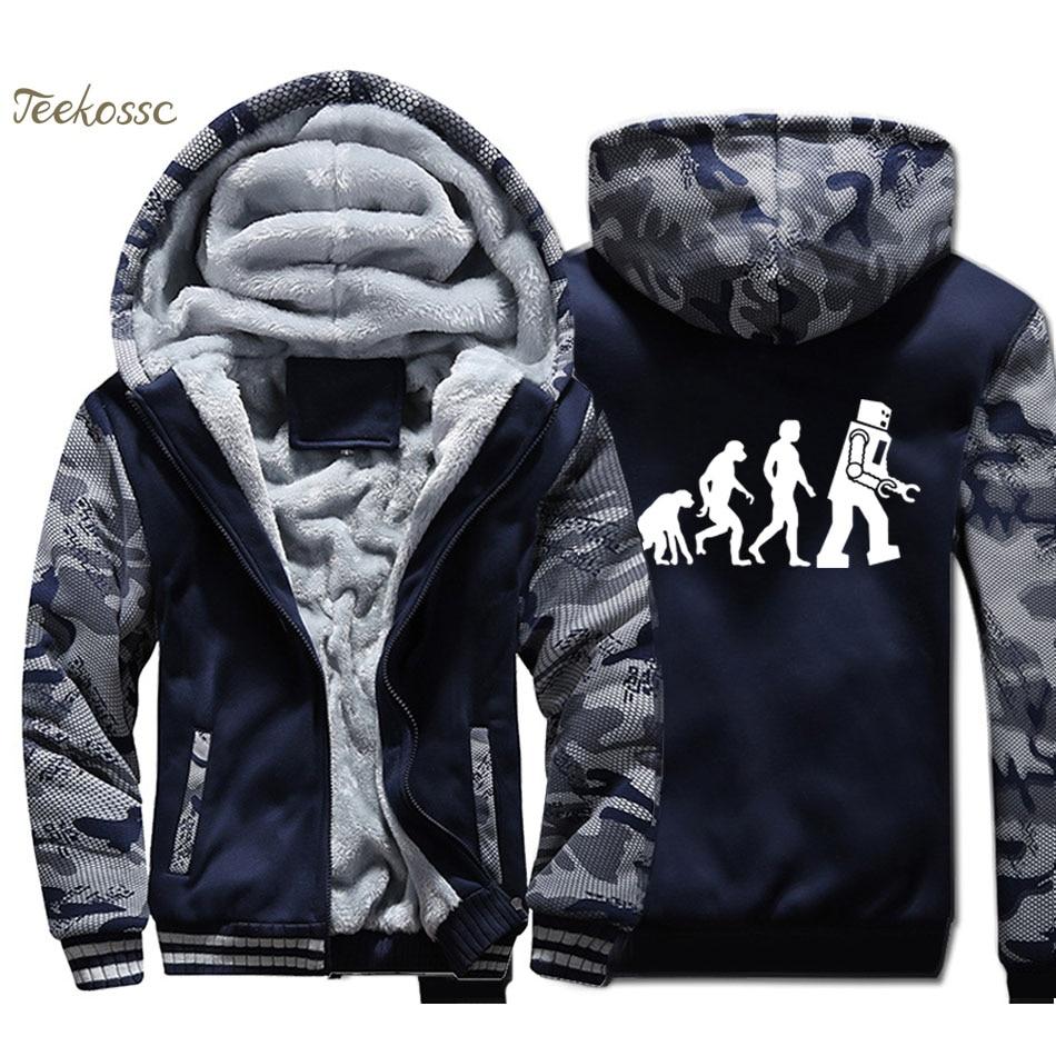 The Big Bang Theory Hoodie Men Funny Robot Evolution Hooded Sweatshirt Coat 2018 Winter Thick Fleece Warm Camouflage Jacket32004