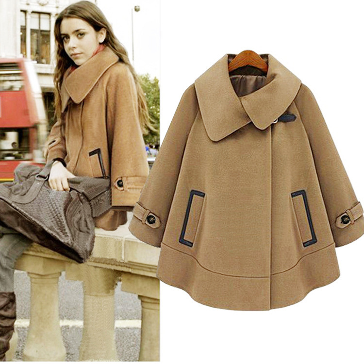 2275b8ed483 Free Shipping Wool Cape Poncho Coat Jacket British Design Winter Camel  Outerwear Women Woolen Personalized Clothes WC258-in Wool   Blends from  Women s ...