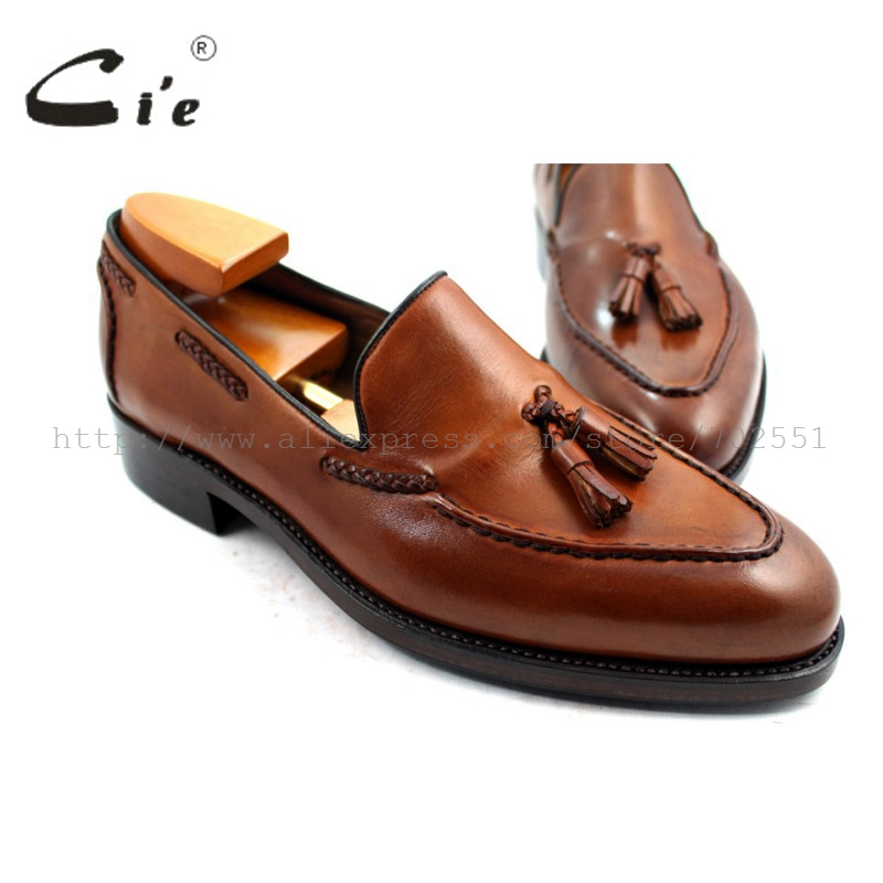 cie Free Shipping Goodyear Welted Handmade Men's Leather Tassel Color Patina brown Goodyear welted Loafer slip-on shoe No. 32 стоимость