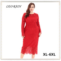 6XL 5XL 4XL 2017 Autumn New Full Long Red Lace Dress Elegant Women Party Plus Size