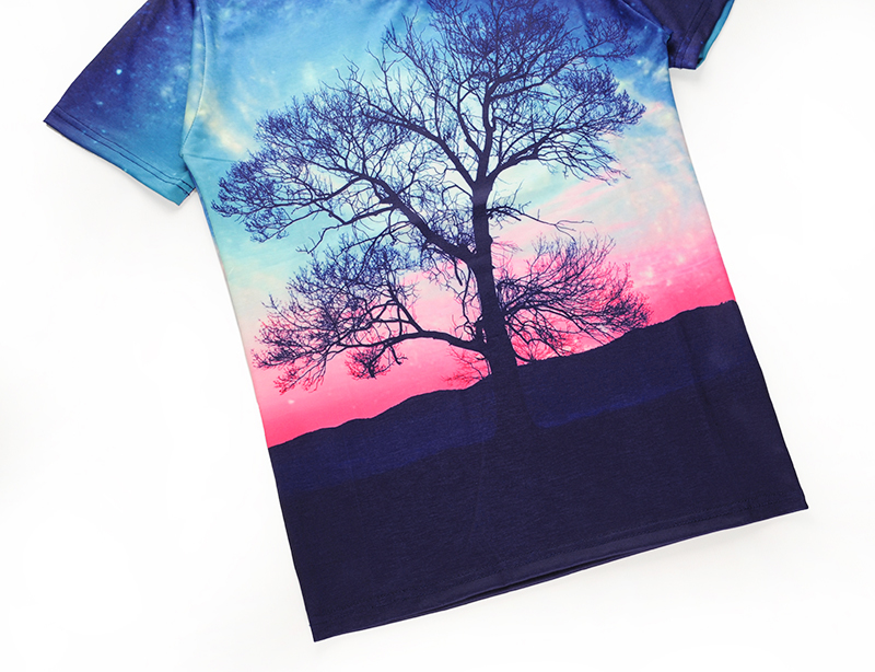 The new 2018 3 dt T-shirt with short sleeves sky tree leisure shirt men and women lovers clothes - XXXL size S